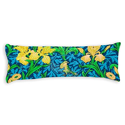 Tamengi William Morris Irises - Fundas de almohada con doble cara, 50 x 54 cm, color amarillo y azul cobalto