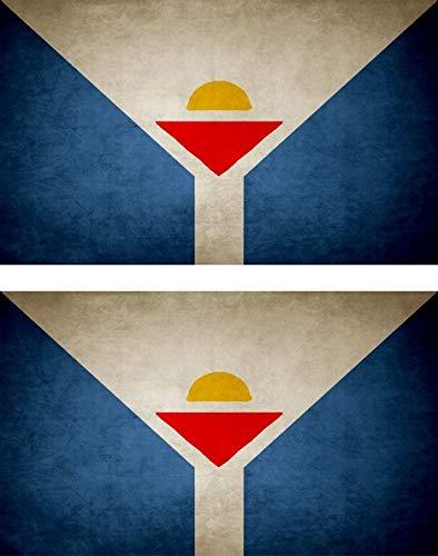 Akachafactory 2x Sticker vlag vinyl country vintage SW saint martin sint maarten