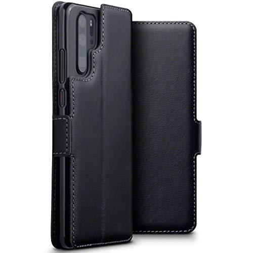 TERRAPIN, Kompatibel mit Huawei P30 Pro Hülle, ECHT Spaltleder Börsen Tasche - Slim Fit - Betrachtungsstand - Kartenschlitze - Schwarz