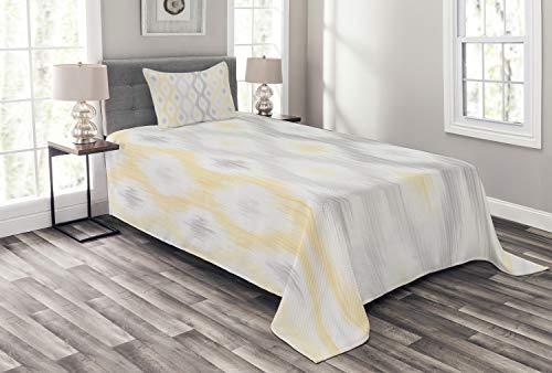 ABAKUHAUS Grau & Gelb Tagesdecke Set, Abstrakt Kette, Set mit Kissenbezug Ohne verblassen, für Einselbetten 170 x 220 cm, Grün Schwarz Hellgelb