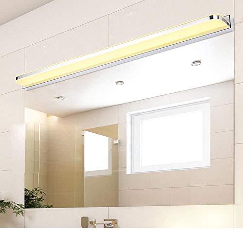WJFXG LED Cuarto de baño Moderno Ligero de la Pared Classic Light Acero Inoxidable del Espejo de luz Espejo de baño Luz acrílico 3000K, con Cable de Tierra 220V IP 44 Cromado, 120cm