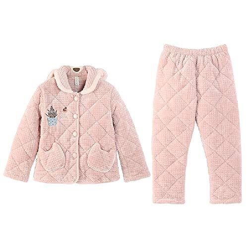 Hurong Parent-Kind Pyjama Damen Winterjacke Baumwolle Verdickte Flanell Mutter Damen Kleidung Flanell Home Kleidung Set Gr. 155 cm(S), Pink (Mädchen)