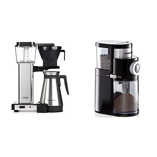 Moccamaster Filter Kaffeemaschine KBGT Thermos, 1.25 Liter, 1450 W, Polished & ROMMELSBACHER Kaffeemühle EKM 200 – 2-12 Portionen, Füllmenge Bohnenbehälter 250 g, 110 Watt, schwarz