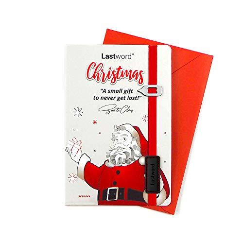 Lastword Christmas Cards - tarjetas de felicitación de navidad con marcapáginas elástico rojo y sobre incluidos, tarjeta de Navidad - postales navidad y marcapáginas diseñada en Italia (Blanco)
