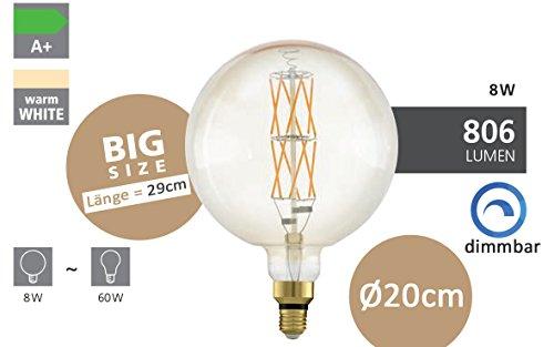 EGLO LED E27 dimmbar, Amber Vintage Glühbirne in BIG SIZE Ø 20 cm, LED Lampe für Retro Beleuchtung, 8 Watt (entspricht 60 Watt), 806lm, E27 LED warmweiß, 2100K, Leuchtmittel, Edison Glühbirne, G200