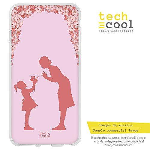 Funnytech® Funda Silicona para iPhone 5 / 5S / SE [Gel Silicona Flexible, Diseño Exclusivo] Dia de la Madre Fondo Flores