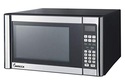 Impecca Countertop Microwave Oven 1.1 Cubic Feet, 1000 Watts with 10 Power Levels and LED Digital Display, Stainless Steel