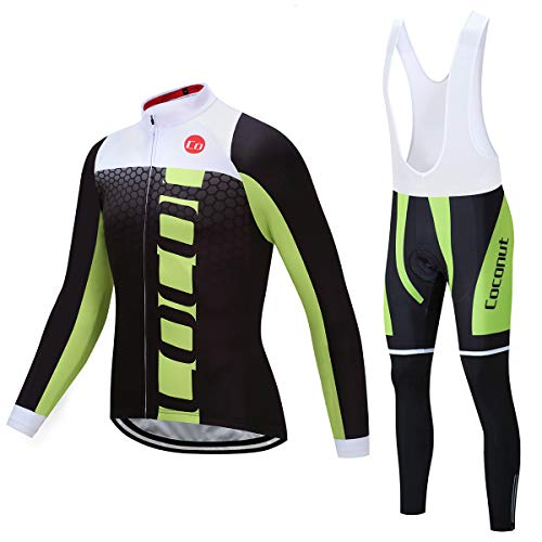 Coconut Ropamo Men's Cycling Clothing Sets Long Sleeve Cycling Jersey Sets Road Bike Clothing 4D Padded Cycling Bib Pants (3021, Medium)