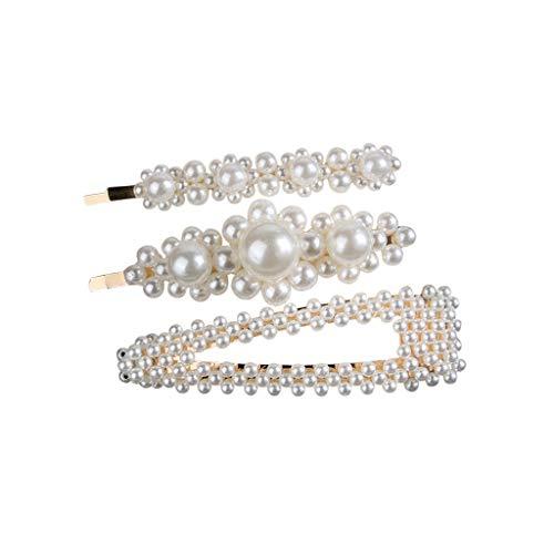 Julhold 3-teiliges Set Haarschmuck Tiara Haarclip Damen Kopfband Haarband Turban Süße Von Perlen Haarsteilige Clips Zeigen Temperament Haarnadeln Haar-accessoires(A)