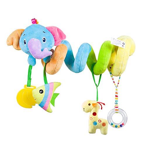 OKCLOD Juguete de Asiento para automóvil, Accesorios de Cuna para bebé con Campana para niño o niña, Juguetes de Felpa en Espiral de Actividad para Cochecito y Viaje (Elephant)