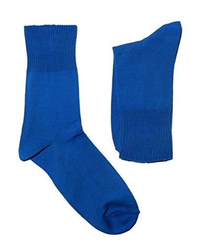Weri Spezials Herren Ges&heits Socken Baumwolle Diabetiker mit dem weichen Rand ohne Gummi (43-46, Blau)