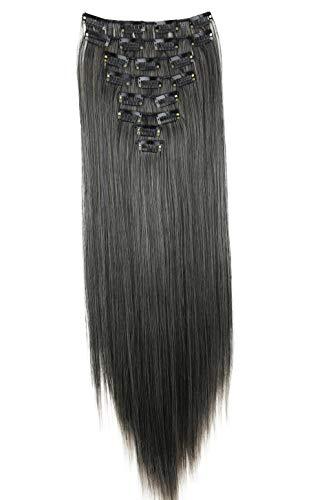 PRETTYSHOP XL 60cm 7 Teile Set CLIP IN EXTENSIONS Haarverlängerung Haarteil Glatt Ombré Grau Mix CE21