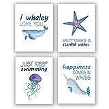 Homdeco Sea Life Kunstdruck-Set, 4-teilig, 20,3 x 25,4 cm,