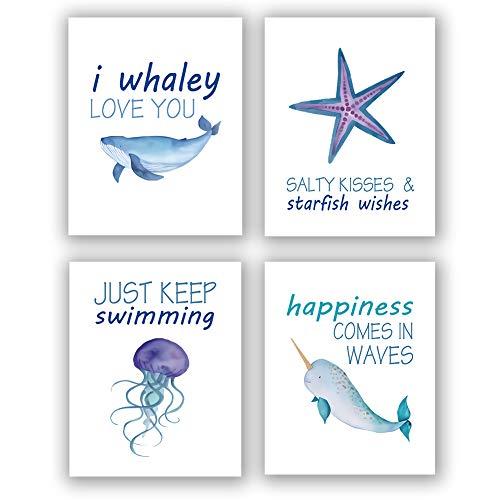 "Sea Life Art Print Set of 4 (8""X10"" Ocean Animals Wall Art Painting,Shark Starfish Jellyfish Whale Art, Canvas Wall Art Poster for Kids Bathroom Nursery Decor, No Frame"