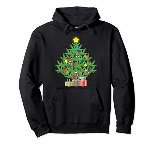 Cannabis Blatt Weihnachtsbaum Weihachten Gras Rauchen Kiffer Pullover Hoodie