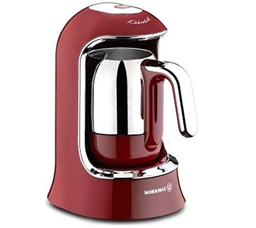 Korkmaz | Kaffeekolik | Elektrischer | Mokkakocher | Espressokocher | 400 Watt | 4 Tassen | Rot |