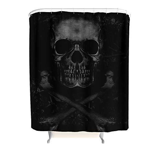 Skull Totenkopf Duschvorhang Wasserdicht Waschbar Anti-Schimmel Anti-Bakteriell Bad Curtians Blickdicht aus Stoff mit Duschvorhangringe für Badezimmer Schwarz 180x200cm