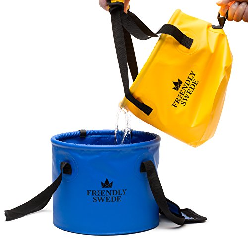 Product Image 1: The Friendly Swede Collapsible Bucket for Camping, Travel and Gardening – Portable Folding Wash Basin Water Container Pail, with Lid and Handy Tool Mesh Pocket Yellow, 10L (2.64 gal)