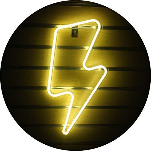 Lightning Bolt Letreros de neón Light Led Neon con interruptor Art Wall Letreros de luz de neón LED para dormitorio, habitación de niños, Navidad, fiesta de cumpleaños, sala (Warm)