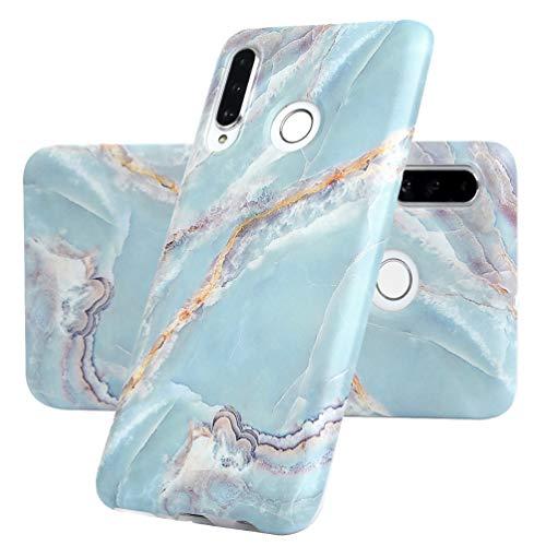P30 Lite Marmor Handyhülle Handytasche Kompatible für Huawei P30 Lite Hülle Silikon Matt Marble Muster Case Cover Tasche Dünn Weiche Schutzhülle Schlank Skin Softcase Schale Bumper Deckel-Blau Grün