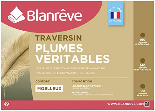 Blanrêve Traversin Naturel Plume 140 , Blanc