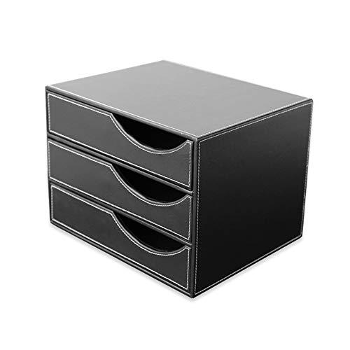 TXYJ Desktop Aktenschrank A4 Schubladenbox Ordner Ablagesysteme 3 Schicht Sicherheitsschrank Aktenschrank Aufbewahrungsbox Office (32.5 * 25.5 * 23.5) cm,Black