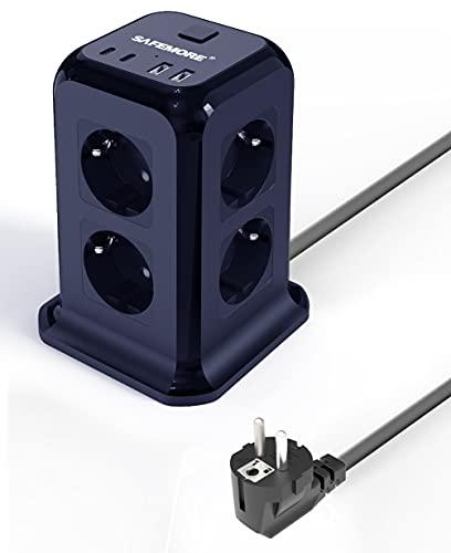 SAFEMORE - Regleta de 8 enchufes con 2 puertos de carga tipo C, 2 puertos de carga USB, 1,8 m de cable de extensión para escritorio para cargar nuevos teléfonos