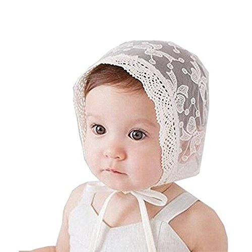 Royal Lace Flower Baby Girls Toddlers Eyelet Lace Breathable Cotton Bonnet Sun Hat (03)