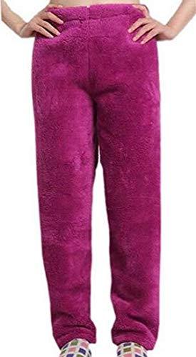 SELX Men and Women Winter Flannel Soft Sleepwear Warm Homewear Elastic Waist Pajama Pants Purple M