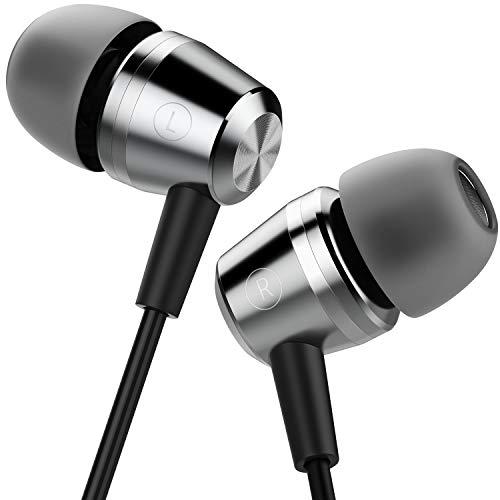 Blukar Écouteurs Intra-Auriculaires, Oreillettes Intra-Auriculaires Filaires Anti-Bruit Casque Ergonomique Stéréo avec Microphone pour iPhone, Smartphones Android et MP3 etc.