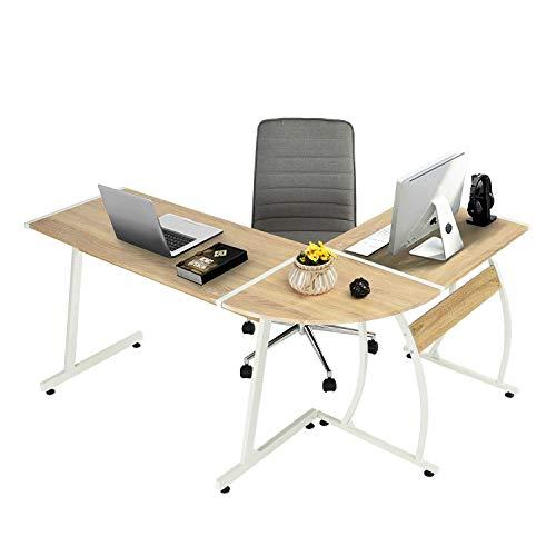 GreenForest L-Shape Corner Computer Office Desk PC Laptop Table Workstation Home Office 3-Piece (Oak)
