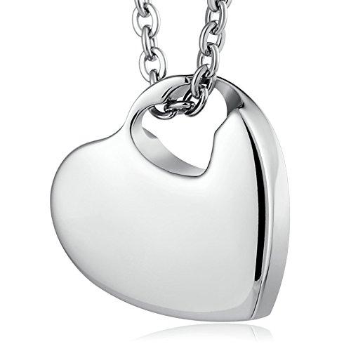 Epinki Joyería Acero Inoxidable Plata Corazón Colgante Urna para Cenizas Cremación Recuerdo Collar