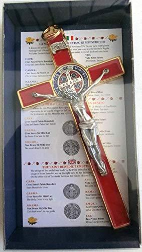 GTBITALY 10.004.21Red San Benito Cruz Oro Rojo 20cm esmaltada con Caja Box Gift Saint Benedict esorcismo Lou patrou esorcista Sacerdote Monja Iglesia