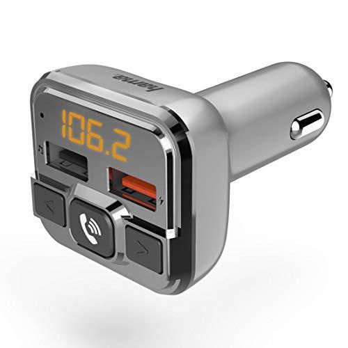 Hama Bluetooth FM Transmitter fürs Autoradio mit Kfz Ladegerät, Freisprecheinrichtung (Auto Adapter für Zigarettenanzünder Buchse mit Anschlüssen für microSD, USB Stick und QC 3.0 zum Laden) silber