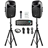 PRORECK MX15 15inch 2500W Bluetooth Powered PA System Mixer/Amp with Stands/Mic Effect Controller 48V Phantom Power, Audio Interface