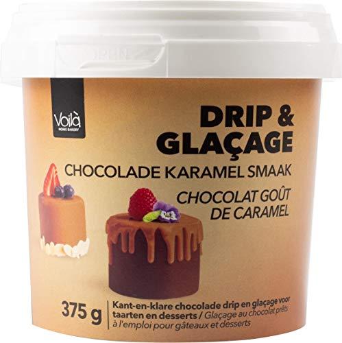 Voila Drip & Glacage Chocolade Karamel kant-en-klare Chocolade Drip en Glacage voor Taarten en Desserts – 375 gram