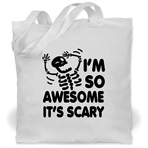 Shirtracer Halloween - I'm so awesome it's scary - schwarz - Unisize - Weiß - I'm so awesome it's scary - WM101 - Stoffbeutel aus Baumwolle Jutebeutel lange Henkel