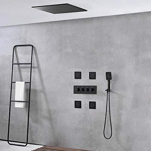 Juego de grifos de ducha de baño de lujo con grifo de masaje para bañera con juego de grifería alemana de lluvia oscura Tech-50cm_Black_3,3QZJBGMTRYLAA
