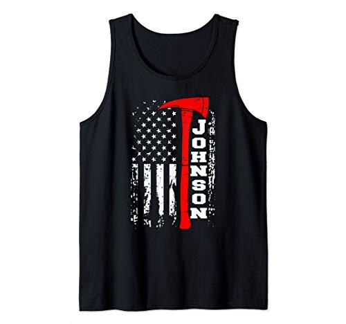 Johnson Firefighter Shirt Surname Johnson Family Gift Tank Top