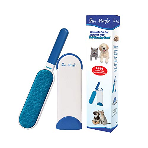 Fur Magic Pet Fur and Lint Remover Brush With Self-Cleaning Base,...