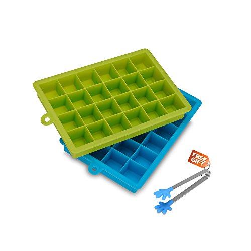 Vaschette per il Ghiaccio in Silicone, Set di 2 Vaschette da 24 Cubetti Ciascuna, con inclusa una Pinza per il Ghiaccio (Azure & Verde)