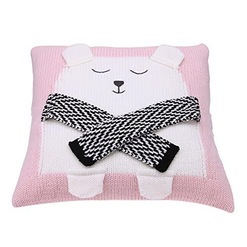 Funda de cojín de asiento de dibujos animados 3D Oso Knit Kid Baby Sofá Decoración Funda de almohada/Rosa-220471.01