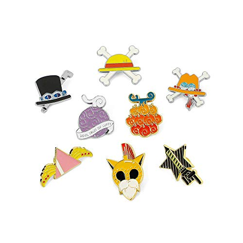 One Piece Luffy Devil Fruit Metal Pins Cool Anime Badges Collection Set of 8 Pack Brooch