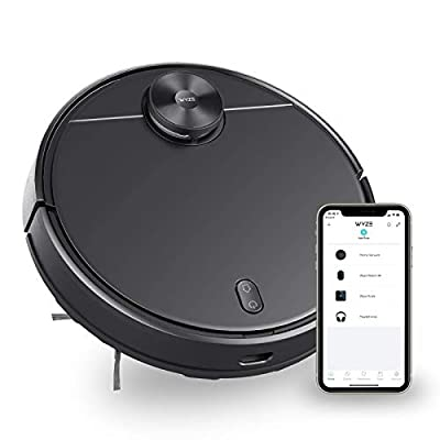 Wyze Robot Vacuum Home Cleaner with Wi-Fi Connected, 2100Pa Strong Suction Robotic Cleaner, Self-Charging Robot Vacuum for Pet Hair, Cleans Hard Floors & Carpet, Laser Navigation, Virtual Walls