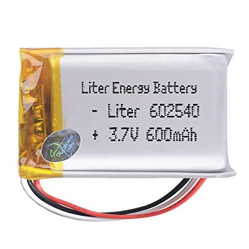 DronePost Batería 602540 3.7V 600mAh 2.22WhLiPo 3 Cables 1S Recargable teléfono portátil vídeo luz led GPS (3.7V|3P|600mAh|602540)