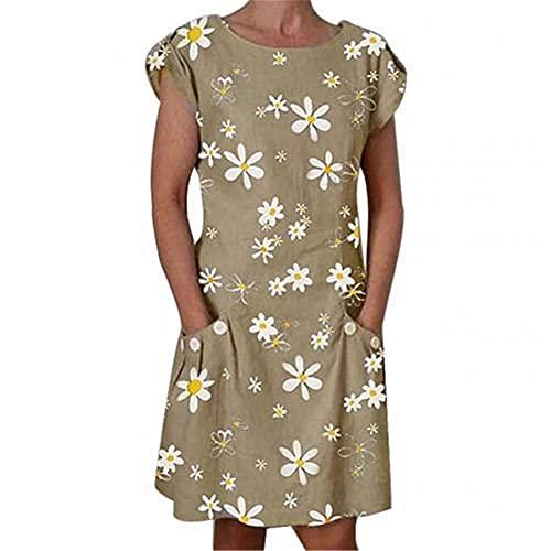 N\P Women Casual Neck Short Sleeve Print Pockets Knee-Length Dress Khaki