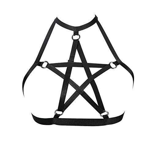 JELINDA Harness BH Pentagramm Käfig Cupless BH schwarz Body Harness für Frauen - - Einheitsgröße