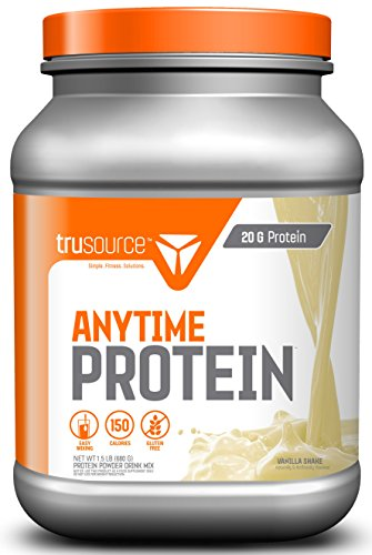 trusource 20 Servings Anytime Protein with Whey Concentrate, Vanilla, 1.5 Pound