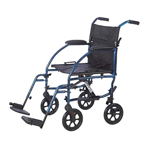 Lifestyle Mobility Aids 19' Deluxe Ultra Compact Aluminum Companion Transport Chairs (Laser Blue)