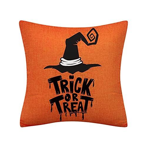 Muium(TM) Funda de cojín de Halloween terror, calabaza, tela de araña, cojín decorativo, cojín de Halloween, cojín de sofá, funda de cojín para sofá, dormitorio, decoración de cama (B)